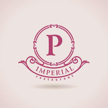 Ilustración de Luxury logo restaurant. Calligraphic pattern elegant decor elements. Vintage vector ornament P - Imagen libre de derechos