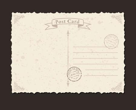 Illustration pour Grunge postcard and postage stamp. Design envelopes and letter - image libre de droit