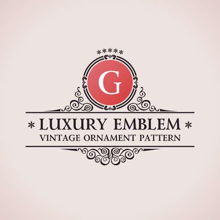 Illustration for Luxury logo. Calligraphic pattern elegant decor elements. Vintage vector ornament G - Royalty Free Image
