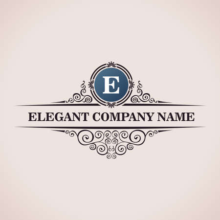 Ilustración de Luxury logo. Calligraphic pattern elegant decor elements. Vintage vector ornament E - Imagen libre de derechos