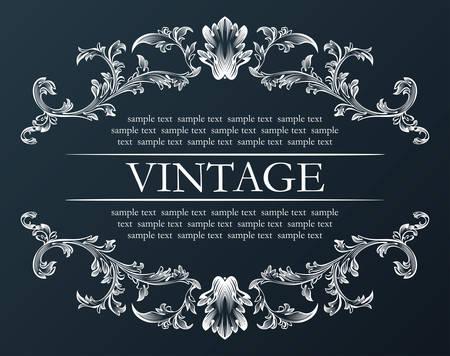 Illustration pour Vector vintage frame. Royal retro ornament decor black illustration - image libre de droit