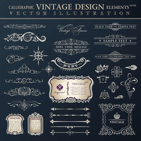 Illustration pour Vector set vintage ornate. Calligraphic design elements and page decoration, collection with black royal ornament - image libre de droit