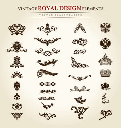 Illustration pour flower vintage royal design element. Vector illustration - image libre de droit