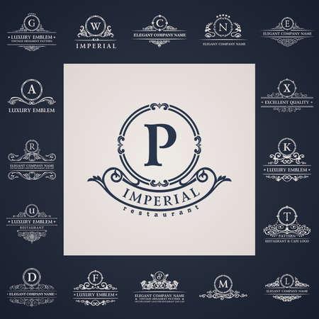 Ilustración de Luxury vintage logo set. Calligraphic letter elements elegant decor. Vector ornament - Imagen libre de derechos