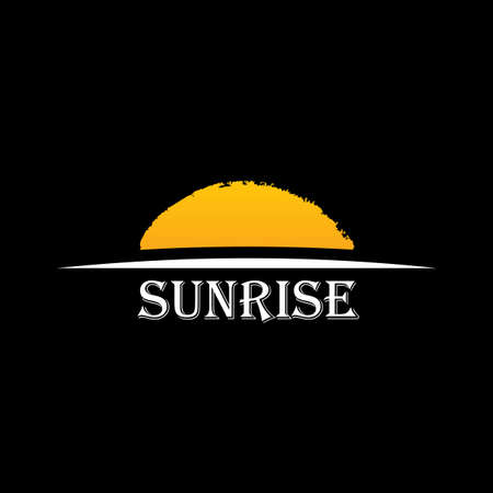 Illustration pour Vector Icon Sun over horizon. Sunrise logo yellow symbol - image libre de droit