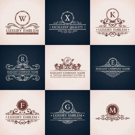 Ilustración de Design logo set. Calligraphic pattern elegant decor elements. Vintage vector ornament - Imagen libre de derechos