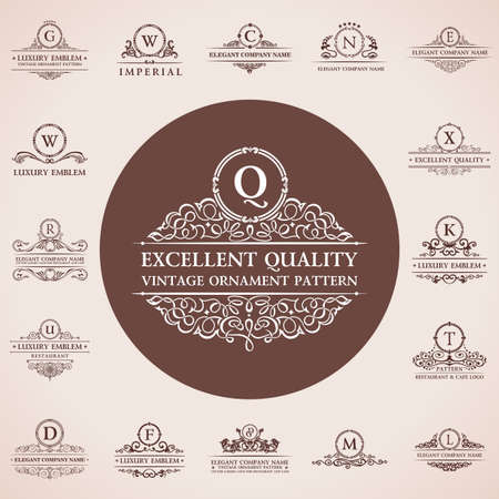 Ilustración de Calligraphic logos set. Vintage template pattern elegant decor elements. Vector ornament - Imagen libre de derechos