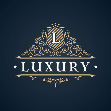 Illustration for Calligraphic Luxury logo. Emblem elegant decor elements. Vintage vector symbol ornament L - Royalty Free Image