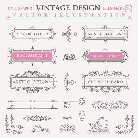 Illustrazione per Calligraphic icons vintage elements. Vector baroque logo set. Design elements and page decoration. Border frames collection royal ornament - Immagini Royalty Free