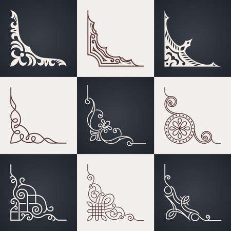 Illustration pour Calligraphic design elements. Vintage corners set. Lines style - image libre de droit