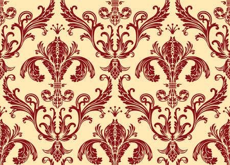Ilustración de Background antique seamless wallpaper. Red decor vintage - Imagen libre de derechos