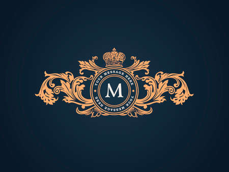 Ilustración de Vintage Decorative Elements Flourishes Calligraphic Ornament. Elegant emblem template monogram luxury frame. Floral royal line logo design. Vector illustration Business sign, identity for restaurant, boutique, heraldic, jewelry, fashion, cafe, hotel - Imagen libre de derechos