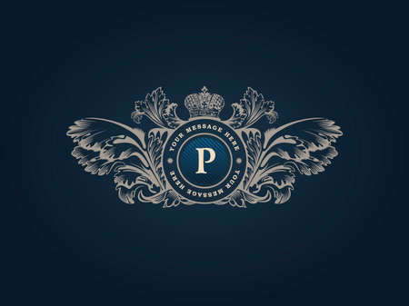 Ilustración de Vintage Decorative Elements Flourishes Calligraphic Ornament. Elegant emblem template monogram luxury frame. Floral royal line logo design. Vector illustration Business sign, identity for restaurant, boutique, heraldic, jewelry, fashion, cafe, hotel - Imagen libre de derechos