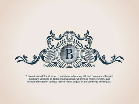 Illustration for Vintage Decorative Elements Flourishes Calligraphic Ornament. Letter B. - Royalty Free Image