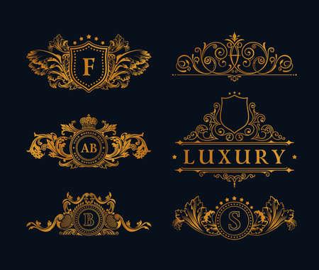 Illustration pour Vintage gold Elements. Flourishes Calligraphic Ornament. Elegant emblem monogram luxury . Floral royal line design. sign, restaurant boutique, heraldic fashion, cafe hotel - image libre de droit