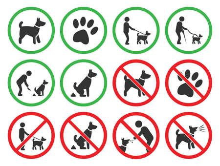 Illustration pour dog friendly and dog restriction signs, dog prohibited icons - image libre de droit