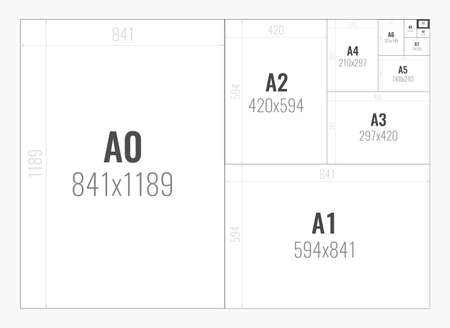 Illustrazione per Standard paper sizes A series from A0 to A10 - Immagini Royalty Free