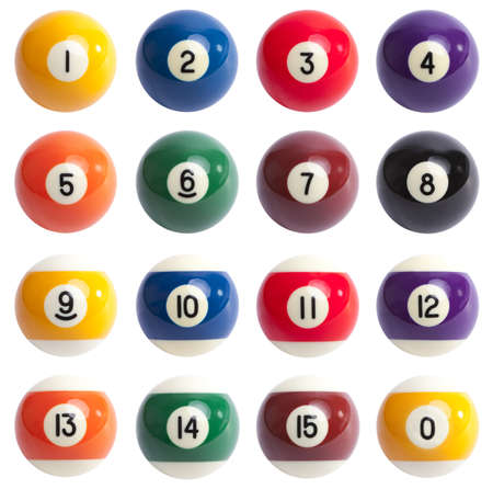Isolated Pool Balls. 1 to 15 and zero ball
