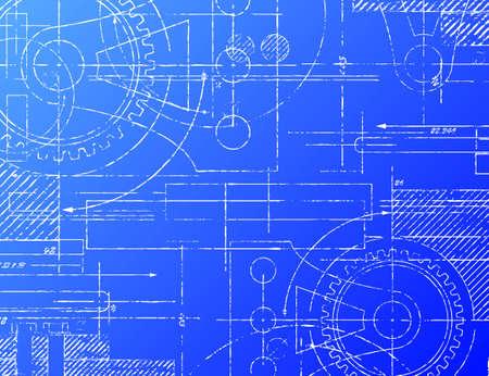 Illustration pour Grungy technical blueprint illustration on blue background - image libre de droit