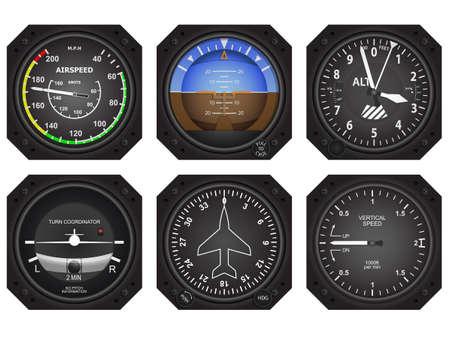 Illustration pour Set of six aircraft avionics instruments - image libre de droit