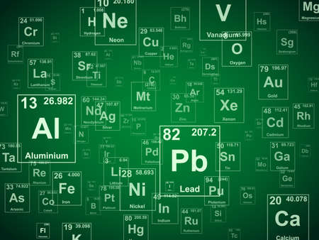 Illustration pour Periodic table of the elements. Green background illustration - image libre de droit