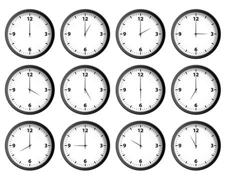 Illustration pour Twelve clocks set at each hour vector - image libre de droit
