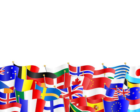 Illustration pour Flags of many different countries against white background - image libre de droit