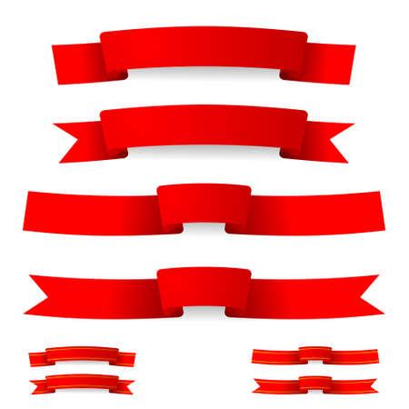 Ilustración de red ribbon with golden stripes - Imagen libre de derechos