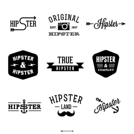 Illustration for vintage hipster labels with anchor, arrow,  - Royalty Free Image