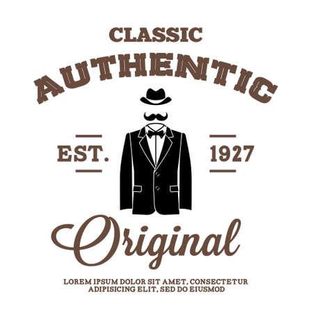 Illustration pour vintage label with hat suit and bow tie - image libre de droit