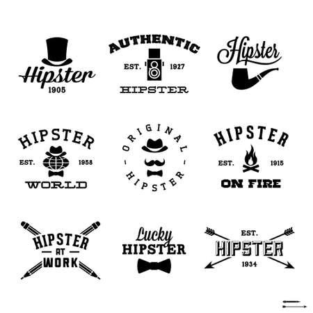 Ilustración de vintage hipster labels with hat, pipe, fire - Imagen libre de derechos