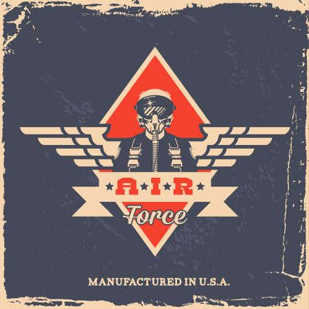 Illustration pour vintage air force label with pilot (T-Shirt Print) - image libre de droit