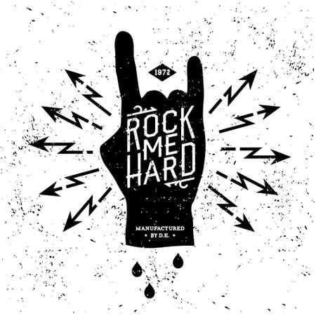 Illustration pour vintage label rock me hard (T-Shirt Print) - image libre de droit