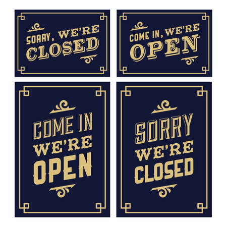 Illustration pour vintage sign open and closed - image libre de droit