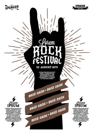Illustration pour hipster rock festival poster with hand ribbon lightning starburst - image libre de droit