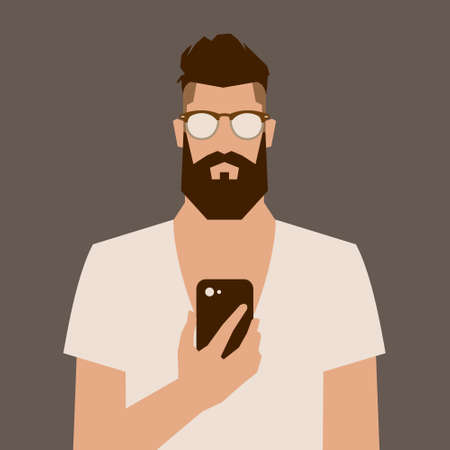 Ilustración de flat cartoon hipster character, vector illustration man with phone - Imagen libre de derechos