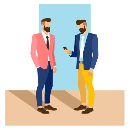 Illustration pour flat cartoon hipster character, vector illustration two businessman with phone - image libre de droit