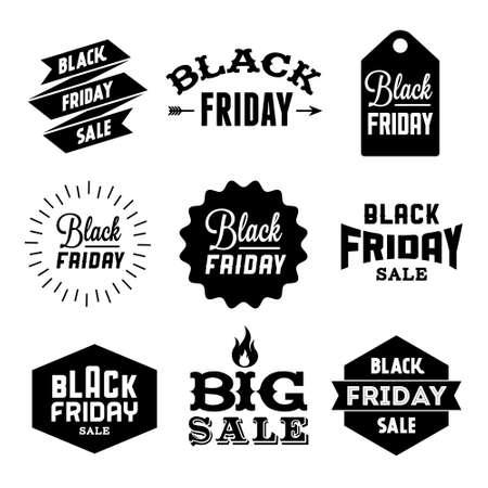 Ilustración de collection monochrome black friday label, badge for your business  with arrow, fire, ribbon, starburst - Imagen libre de derechos