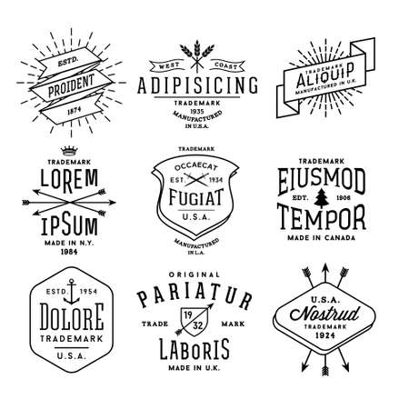 Ilustración de collection monochrome hipster vintage label,  badge for your business or t-shirt print with arrow, crown, sword, anchor, ribbon, fir tree - Imagen libre de derechos