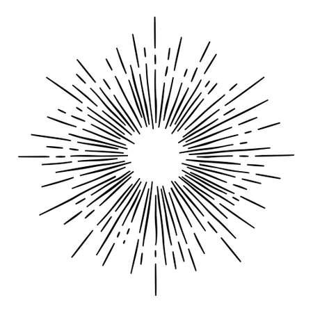 Ilustración de monochrome hand draw hipster style retro vector  starburst with ray for badge label - Imagen libre de derechos