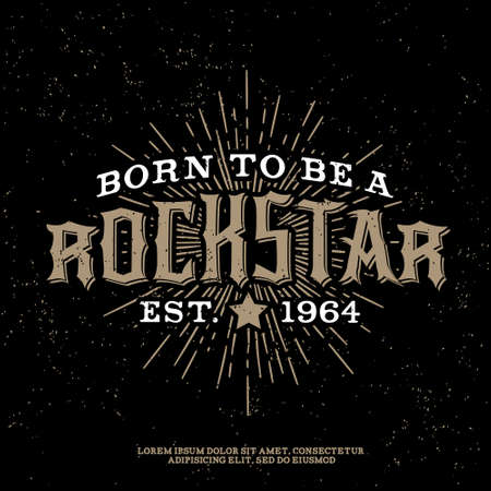 Illustration pour monochrome vector hipster retro badge , label, logo   rock star  for poster ,  flayer or t-shirt print with lettering , star , starburst and ray - image libre de droit