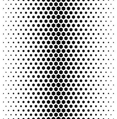 Illustration pour Vector modern tiles pattern. Abstract gradient op art seamless monochrome background with hexagon - image libre de droit