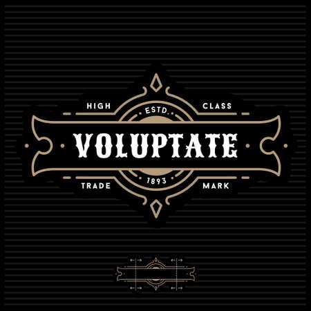 Ilustración de luxury art deco antique gold monochrome hipster minimal geometric vintage linear vector frame , border , label  for your logo badge or crest - Imagen libre de derechos