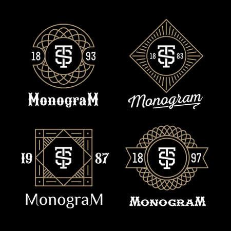 Illustration for set art deco luxury classic linear monochrome golden minimal hipster geometric vintage vector monogram, frame , border , label  for your logo badge or crest - Royalty Free Image