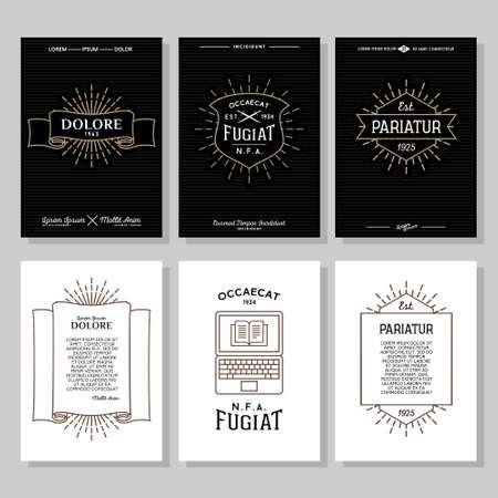 Illustration for set hipster typography monochrome vintage label, flyer or poster with crest, logo, star burst, ribbon, shield, sword, laptop - Royalty Free Image