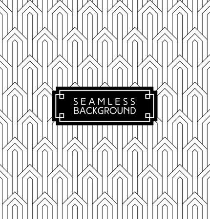 Ilustración de seamless art deco monochrome arabic black and white wallpaper or background with hipster label or badge - Imagen libre de derechos