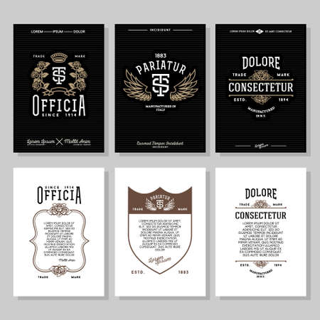 Illustration pour set vintage hipster typography monochrome label, flyer or poster with crest, logo, crown, flower, wing, shield for club, bar, cafe, restaurant, hotel , boutique - image libre de droit
