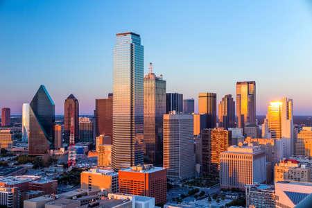 Foto de Dallas, Texas cityscape with blue sky at sunset, Texas - Imagen libre de derechos
