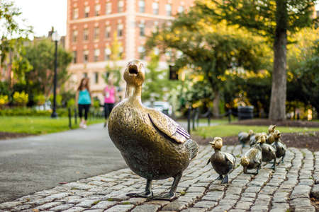 Photo for Boston Public Garden with its famous duck family brass statues - Royalty Free Image