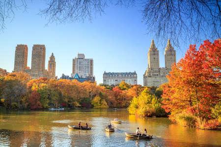 Photo for Central Park in Autumn with colorful trees and skyscrapers - Royalty Free Image